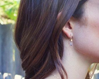 Crystal Quartz Point Earrings - Post Earrings - Minimalist Jewelry - Boho Earrings - Gemstone Jewelry - Statement Earrings