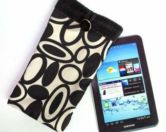 Elegant Black and White Tablet Sleeve with Black Fleece Lining, fits iPad Mini, 7 inch Kindle, Nook Color, LG Pad, more