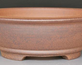Small Round Bonsai Pot Unglazed Red Stoneware