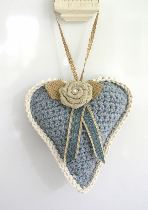 Blue Crochet Heart Decoration –Stuffed  Rustic Heart Door Hanger - Doorknob Heart - Large Crochet Ornament - Friend Gift