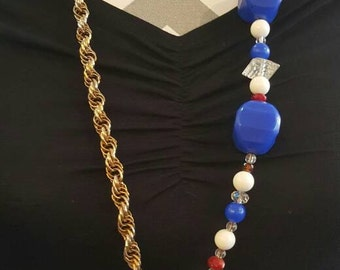 Anchor Charm Long Statement Necklace with Vintage and Glass Beads, Chain and Faux Suede, Summer Jewelry, Nautical
