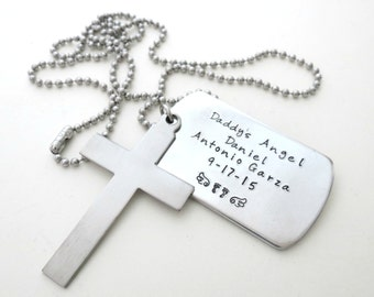 Personalized Father of an Angel Necklace - Mens Cross Necklace - Loss of a Child - Remembrance - Memorial Jewelry - Son - Daughter - Family