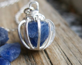 Blue Sapphire Necklace Birthstone Gifts Gemstone September Sterling Silver Cage Raw Rough Gem Birthday Mother's Day Gift Mom Wife Girlfriend