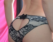 Clothing Shoes & Accessories Women's Clothing Intimates Panties  The Lace Print Black Jersey Heart  Panties Made to Order
