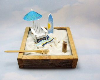 miniature zen beach garden kit, miniature adirondack chair, surfboard, seagull