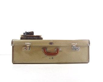 Vintage Tweed Suitcase, Vintage Luggage