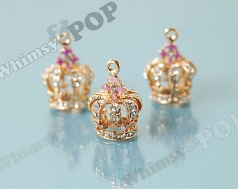 1 - 3D Gold Tone Crystal Rhinestone Royal King Queen Princess Crown Pendant Charm, Crown Charm, 22mm x 17mm (1-5H)