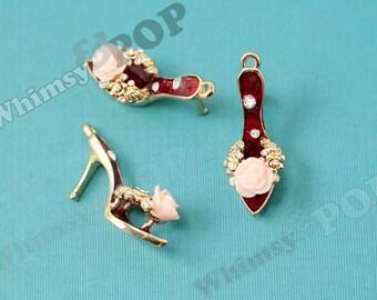 1 - 3D Floral Red Crystal Rhinestone High Heel Shoe Goldtone Kawaii Charm, 33mm x 20mm (4-4G)