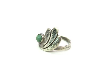 Taxco Silver Ring. Engraved Abstract Sterling Wing with Light Green Gemstone. Adujstable. Eagle Mark. Vintage 1960's Mexican Jewelry. Size 6
