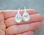Diamond Bridal Earrings Swarovski Crystal Clear Diamond Rhienstone Leverback Pear Tear Drop Earrings Rhinestone Halo Bride Wedding Mashugana