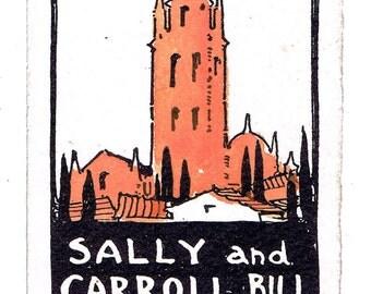 Antique Vintage  Twenties Carroll and Sally Bill American Artist Christmas Card Holiday Ephemera