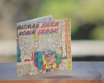 1966 Batman wallet recycled vintage comic book hand sewn comics billfold gift geeks boyfriend girlfriend handmade batman and robin 60s gift