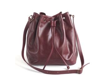 QUINN Maroon Red Leather Bucket Bag. Leather Drawstring Bag. Leather Cross body bag. Womens handbag bag. Leather Shoulder Bag.