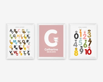 Children Name, Alphabet and Number Posters, Nursery Decor, Kids wall art, Cute Animal art print, Children Room Decor Set of 3