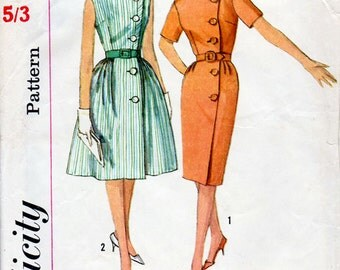 1960s Wrap Around Dress Pattern Simplicity 4399 Vintage Sewing Pattern Front Buttoned Sheath or Full Skirted Dress Bust 34