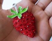 Large Rhinestone Strawberry Pendant