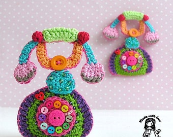 Crochet pattern - Mr. Graham Bell (telephone) brooch - DIY