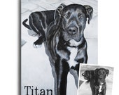 custom great dane portrait painting from photo on canvas hand painted 12x16 dogs cats black and white