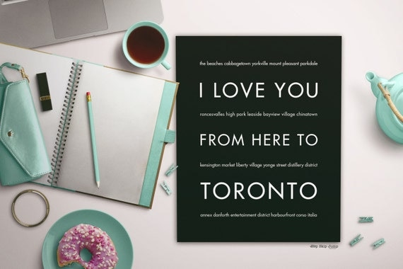 Toronto Art, Canada Gift Idea, I Love You From Here To TORONTO, Shown in Black - Choose Color, Canvas Poster Frame, Free U.S. Shipping