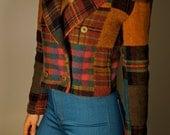 Vintage Plaid Cropped Blazer XS S M Crop Jacket UpCycled Grateful Dead 13 Point Bolt Prankster Mod Folk Bohemian Hippie Gypsy Art Festival