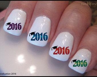 Nail Decal Graduation  Class of 2016 or 2017 Nail Art