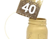 Ready to Ship   21st 30th 40th 50th  Birthday   Ombre gold & bronze    sparkly white number lace crown headband   ANY AGE