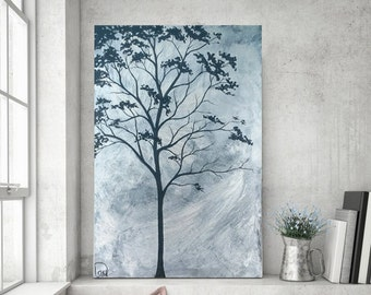 Abstract Painting, Tree Painting, Metallic Silver Painting, Original Painting on Canvas, Landscape Painting, Minimalist Art,  36x24 Day