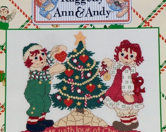 Counted Cross Stitch Pattern | DECORATE With LOVE At CHRISTMAS | Classic Raggedy Ann & Andy | Designs By | Gloria And Pat