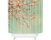 Shower Curtain: Cherry Blossoms. Pink Teal. Floral Spring. Shabby Chic Décor. Bathroom Décor. Home Décor. Bathroom Accessories. Homeware