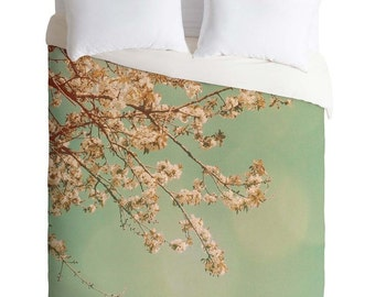 Dreamy Cherry Blossoms Twin Queen King Duvet Cover, Spring Botanical Floral Home Decor, Housewarming Gift, Teen Bedroom Decor, Wedding Gift