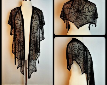 Spider Web Lace Convertible Shawl/ Shrug/ Bustle/ Over Skirt