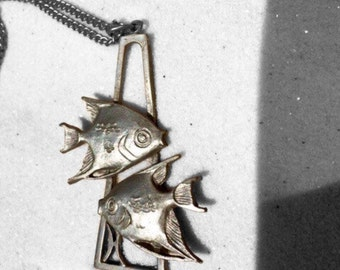 Pewter Pisces Double Fish Pendant