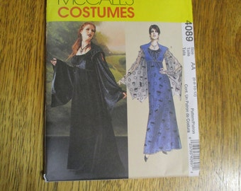 Gothic MEDIEVAL Empire Gown & Elegant Over Vest - Size 6 - 8 - 10 - 12 - UNCUT Sewing Pattern McCalls 4089