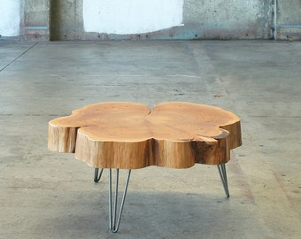 live edge coffee table - with mid century modern hairpin legs - nimbus cloud table - urban wood salvage - modern interior