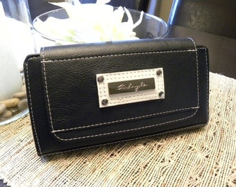 Genuine Leather Navy and White Wallet