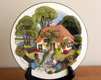 Lilac Cottage - Cottages of Olde England - Davenport Studios - Limited Edition Collectible Plate - 3D / Hand-painted - Kitchen / Hedge Witch