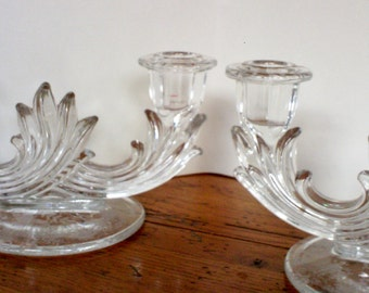 Vintage Fostoria Glass Candlesticks Chintz Pattern / Pair of Glass Candlesticks with Two Lites