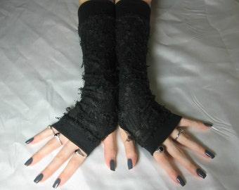 Black Thumb Holes Arm Warmers Arm Warmer goth gothic  fingerless glove steampunk glove cybergoth arm sleeve belly dance costume emo gypsy