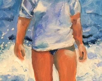 Beach Girl With Attitude  Original Oil Painting by Marlene Kurland 20 x 10