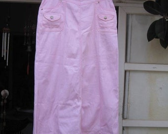 Vintage Denim Long Jeans Styled Skirt in Blush Rose - Medium to Large
