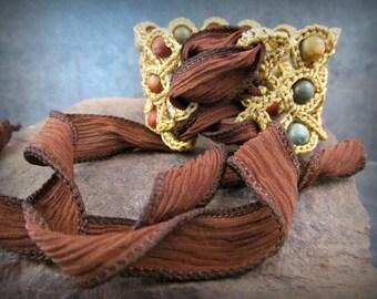 Gypsy Corset Cuff Bracelet with Earthy Jasper Beads, Bohemian Boho Crochet jewelry