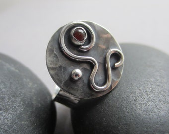 Metalsmith ring/Carnelian Ring/Texturized ring/ Artisan Ring / Hammered ring / Texturized silver Ring/ Oxidized Silver Ring