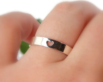 Heart Ring: Choose your finish, sterling silver ring, Valentines' Day Ring, simple heart ring, silver ring, sterling silver heart ring