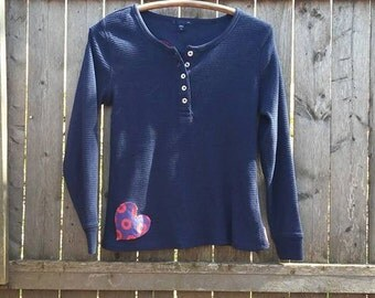WOMEN'S MEDIUM PHISH Shirt Get Down UpCycled I Heart the Phunk Fishman Thermal Henley Long-sleeved, Free gift wrap option