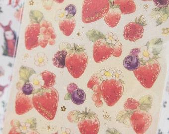 Strawberry Deco Sticker (1 Sheet)
