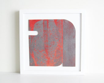 "TAKE 50% off ... Use code SALE50 @ checkout. Etching Print . Abstract Art. Red + Silvery gray Home Decor: ""Form 16"".  Print Size 9.5"" x 9.5"""