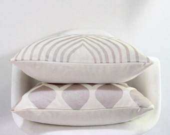 Aya Contour 20x20 pillow cover hand printed in metallic blush on white organic hemp cotton