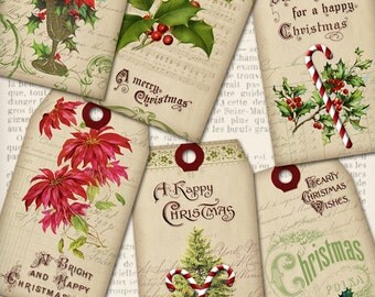 Vintage Christmas Tags printable tags vintage christmas gift tags digital graphics instant download Digital Collage Sheet- 1222VEDETACM