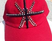 Jeweled Union Jack Baseball cap in red-Rhinestone Baseball Cap- Ladies hat-Christmas Gift