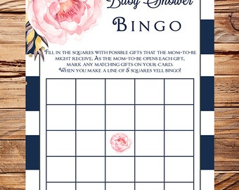 Pink peonies bingo game, Instant download baby shower bingo game, navy white stripes, pink peonies, baby shower game, 1706